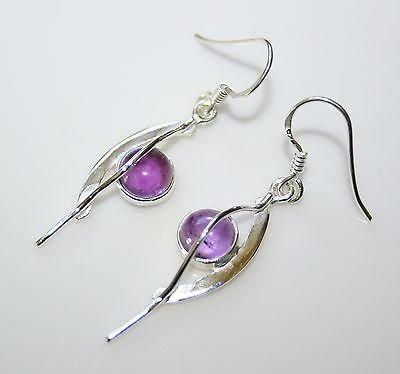 HANDCRAFTED ART DECO STYLE STERLING SILVER AND CABOCHON AMETHYST DROP EARRINGS