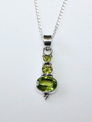 HANDCRAFTED STERLING SILVER FACETED PERIDOT GEMSTONE PENDANT & CHAIN