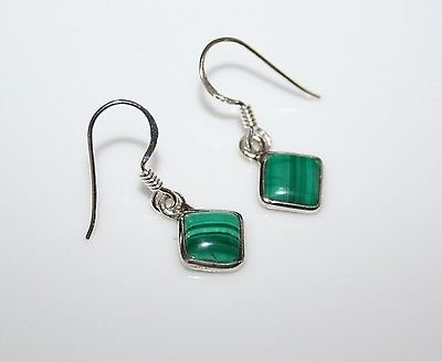 HANDCRAFTED STERLING SILVER 7MM MALACHITE GEMSTONE SMALL DROP EARRINGS