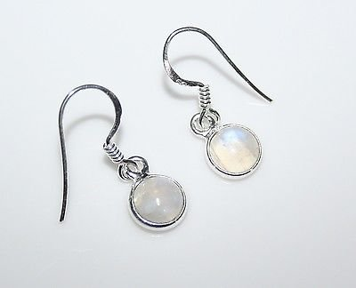 HANDCRAFTED STERLING SILVER 7MM RAINBOW MOONSTONE SMALL ROUND DROP EARRINGS