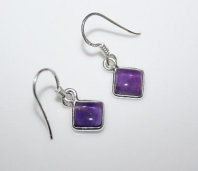 HANDCRAFTED STERLING SILVER 7MM AMETHYST GEMSTONE SMALL DROP EARRINGS