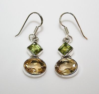 HANDCRAFTED STERLING SILVER  FACETED PERIDOT & CITRINE GEMSTONE DROP EARRINGS