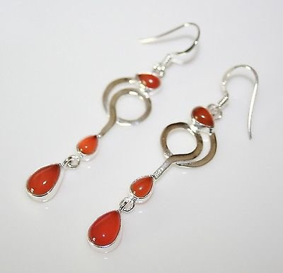HANDCRAFTED ART DECO STYLE STERLING SILVER AND CABOCHON CARNELIAN DROP EARRINGS