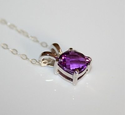 PRETTY STERLING SILVER 8MM FACETED AMETHYST CZ PENDANT & CHAIN