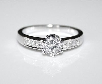 STERLING SILVER 6MM 0.75CT CZ SOLITAIRE RING SIZE P