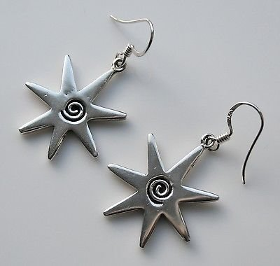 HANDCRAFTED STERLING SILVER SPIRAL STAR EARRINGS