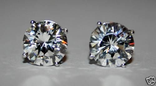 9MM 2.75CT ROUND CZ STERLING SILVER SOLITAIRE EARRINGS