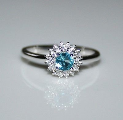 STERLING SILVER 4MM 0.25CT BLUE TOPAZ CZ SOLITAIRE RING SIZE O US 7