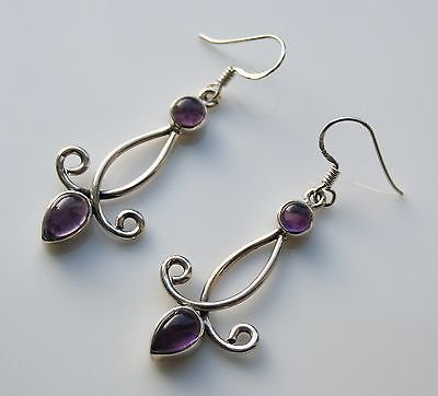 HANDCRAFTED STERLING SILVER AND CABOCHON AMETHYST DROP GEMSTONE EARRINGS