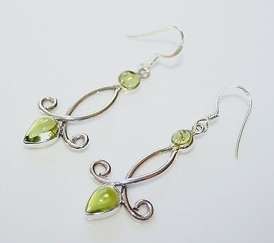 HANDCRAFTED STERLING SILVER AND CABOCHON PERIDOT GEMSTONE EARRINGS