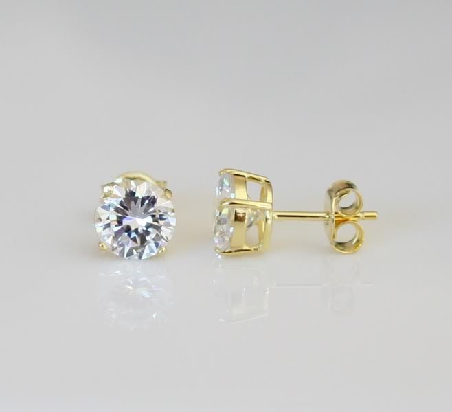6mm 0.75ct 14k Yellow Gold On Sterling Silver Cz Solitaire Earrings