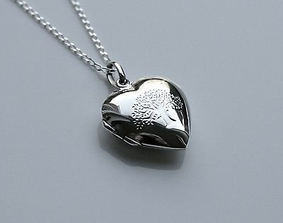 STERLING SILVER REVERSIBLE ENGRAVED HEART LOCKET & CHAIN