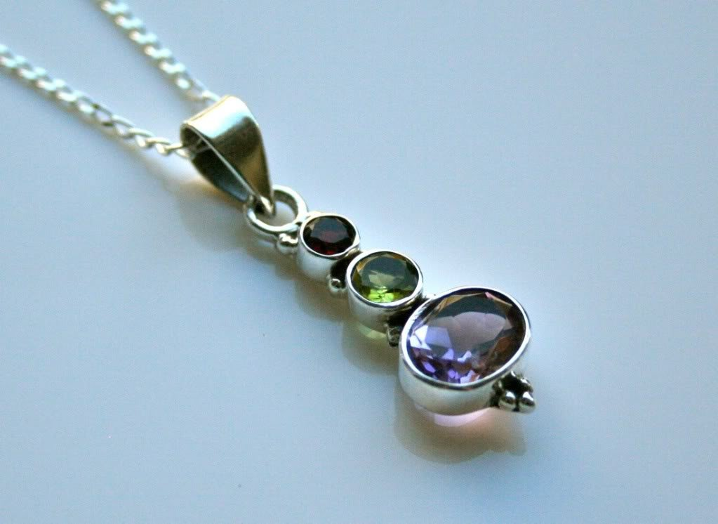 HANDCRAFTED STERLING SILVER FACETED MULTI COLOURED GEMSTONE PENDANT & CHAIN