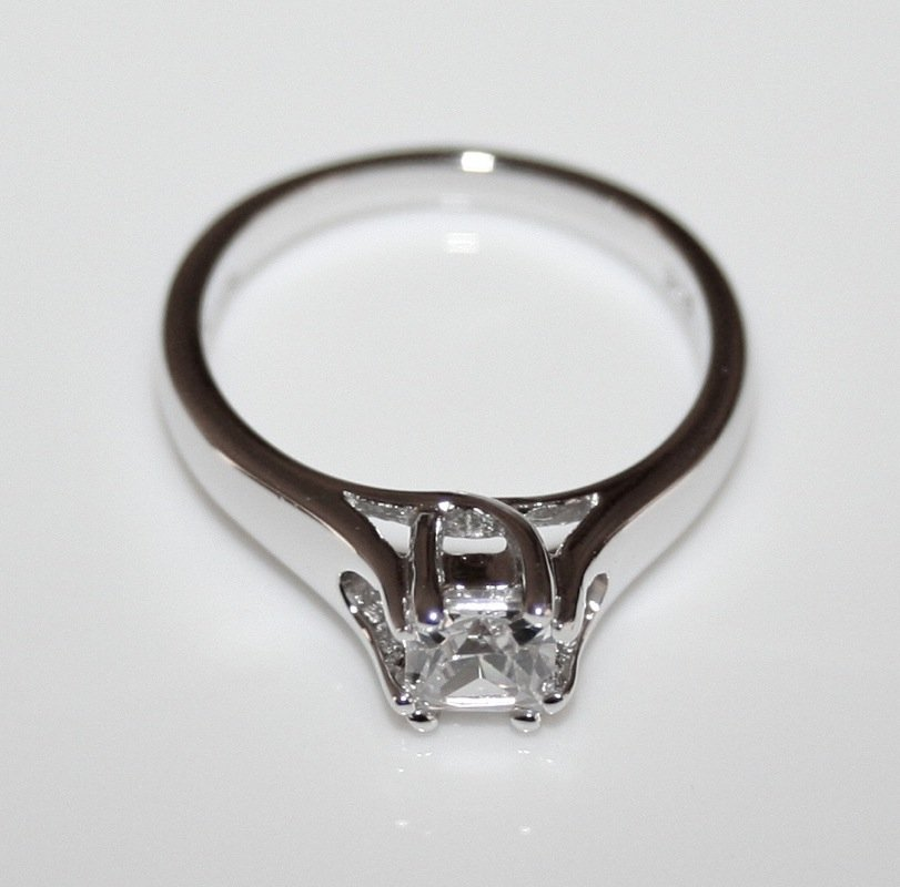 STERLING SILVER 4.5MM 0.40CT PRINCESS CUT CZ SOLITAIRE RING