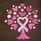 Breast Cancer Pink Ribbon Tree Heart Brown Hoodie M New