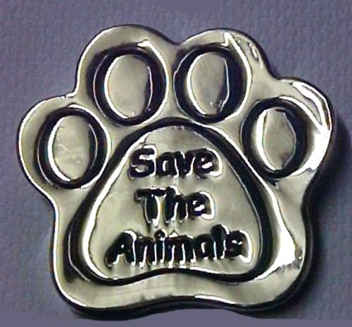 Paw Print Lapel Pin Tac Save The Animals Dog Cat Awareness Silver Engraved  New