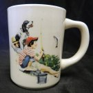 Vintage Four Seasons 2 Boys Black White Setter Dog Fish Fishing Mug USA