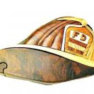 Fireman's Hat Fight Fighter Puzzle Trinket Box Hand Crafted Intarsia Wood Art