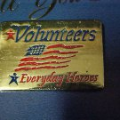 Volunteers Everyday Heroes Red Blue White Flag Gold Plated Cap Lapel Pin New