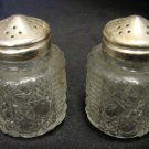 Vintage Federal Glass Button Bar Windsor Small Short Salt Pepper Shakers Set
