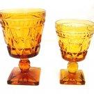 2 Vintage Indiana Park Lane Amber Footed Pedestal Water Wine Juice Glass