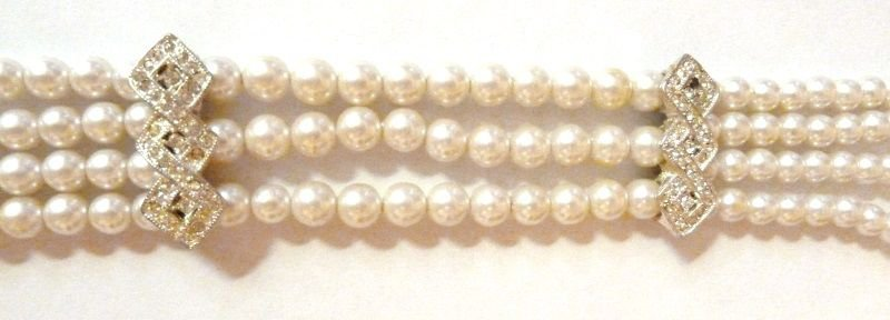 Vintage Faux Pearl Choker Chain Necklace Strand Rhinestones Formal Jewelry