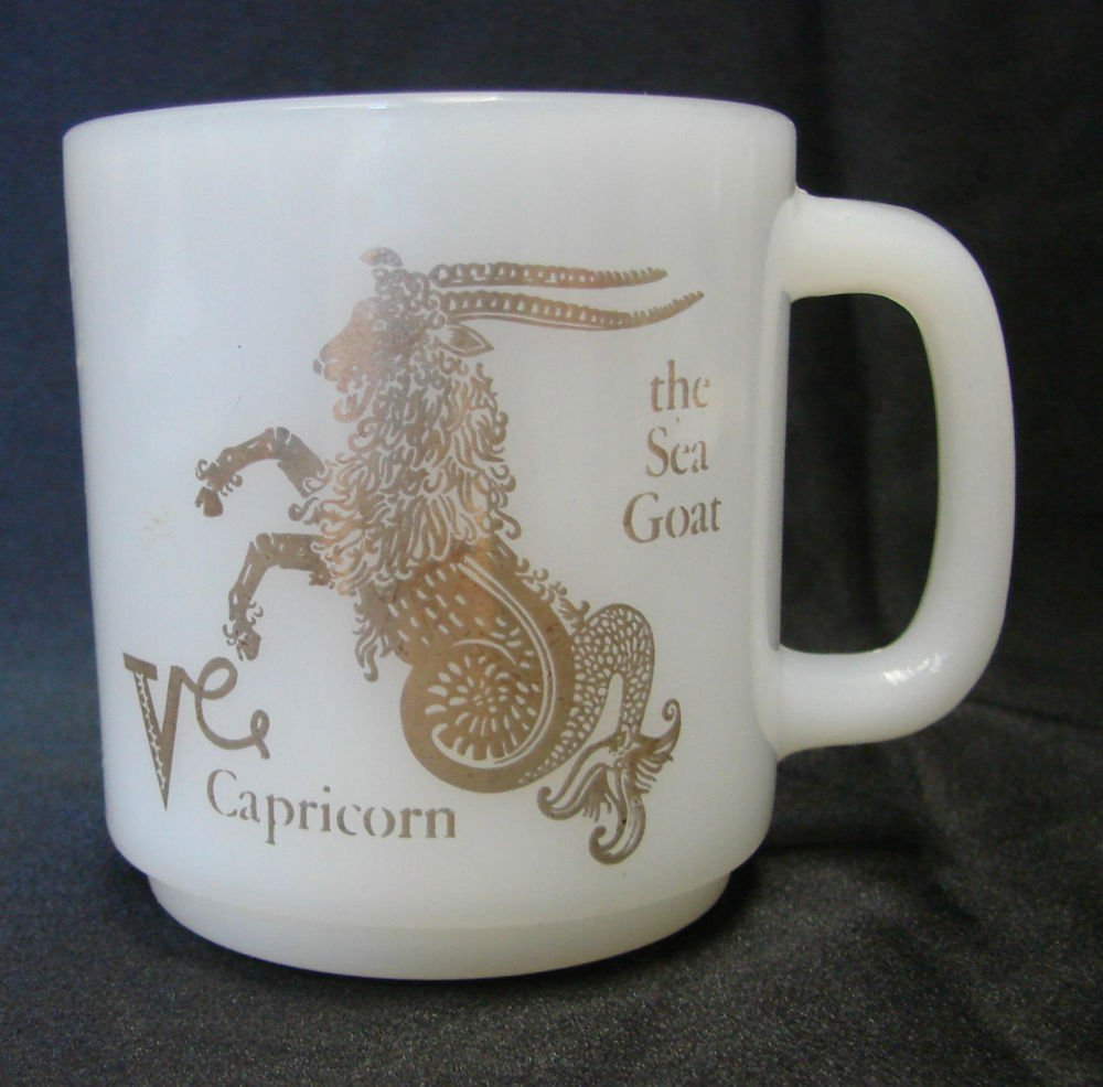 Milk White Glasbake Glass Gold Sea Goat Capricorn Horoscope Mug Cup Vintage