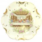 Lord's Supper Plate Floral Rose 18K Gold Collector Japan Christian Vintage