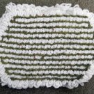 Vintage Lot of 4 Yarn Crochet White Green Floral Cloth Table Place Mats