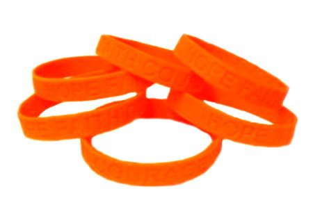 Kidney Cancer Lot Of 6 Orange Awareness Bracelets Silicone Cause Wristbands New