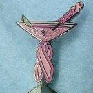 Pink Ribbon Pin Martini Glass Breast Cancer Awareness Cocktail Drinks New