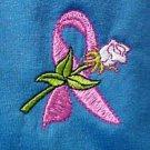 Breast Cancer Pink Ribbon Rose Blue S/S Crew Neck T-Shirt Medium Unisex New