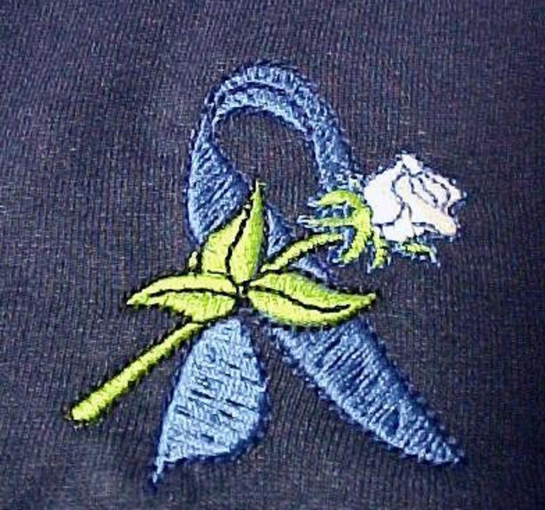 Colon Cancer Blue Ribbon White Rose Navy Crew Neck Sweatshirt Unisex 3X New