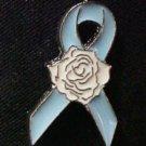 Light Blue Ribbon White Rose Hope Prostate Cancer Awareness Lapel Pin Tac New