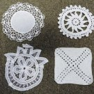 Set of 4 Vintage Handstitched White Table Linens Coaster Hot Mat Trivet Doily
