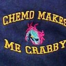 Chemo Makes Me Crabby Navy Embroidery Crab Cancer Awareness S/S T Shirt 4XL New