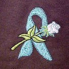 Ovarian Cancer Ectodermal Dysphasia Teal Ribbon Rose Brown S/S T-Shirt L New