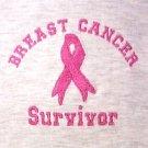 Pink Ribbon Survivor T Shirt Breast Cancer Awareness Gray Short Sleeve L New