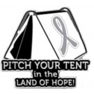 Gray Silver Awareness Ribbon Pin Tent Camping Campers Sportsman Cancer Cause New