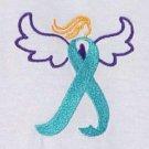 Ovarian Cancer Awareness 3X Teal Ribbon Angel White Crew T Shirt Unisex New