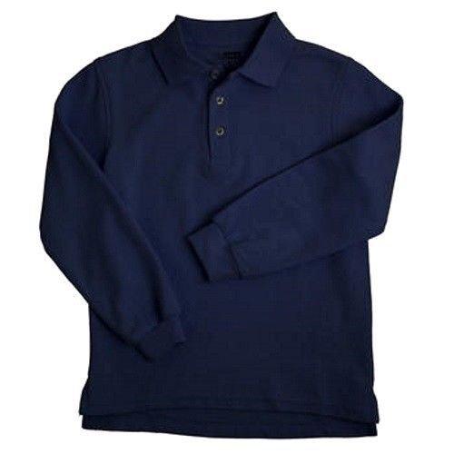 Navy Blue Long Sleeve Polo Shirt 14 Unisex French Toast School Uniforms New