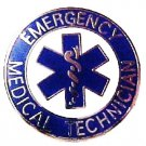 EMT Emergency Medical Technician Silver Plated Blue Star of Life Lapel Pin 58S1