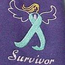Ovarian Cancer Survivor Awareness 4X Teal Ribbon Angel Purple T Shirt Unisex New