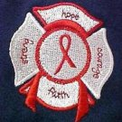 Lymphoma Awareness Red Ribbon Fire Dept Rescue Maltese Cross Navy T Shirt L New
