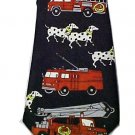 Multi Colored Polyester Black Men's Neck Tie Dalmatian Dog Fire Engine Truck