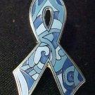 Blue Camo Paisley Silver Trim Cancer Ribbon Colon Prostate Lapel Pin Tac New