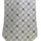 Zylos George Machado Men's Neck Tie Silk Gray Silver Black Striped Check Block