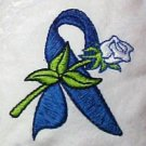 Blue Ribbon Rose White Cancer Chemo Hat Durag Cap Cotton Adult One Size New