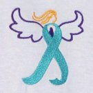 Ovarian Cancer Awareness Small Teal Ribbon Angel White Crew T Shirt Unisex New