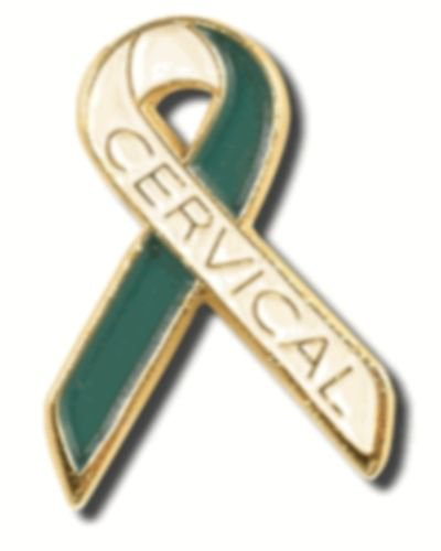 Cervical Cancer Awareness Teal White Ribbon Gold Letters Lapel Pin Tac New